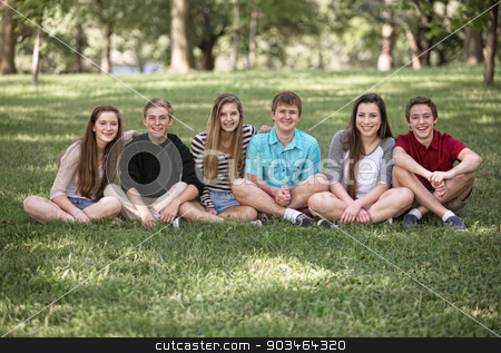 Six Teens Sitting stock photo, Row of six male and female teens sitting outside by Scott Griessel