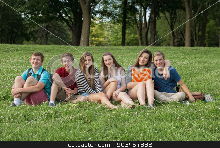Teen Students Sitting Outdoors stock photo, Attractive group of Caucasian teen students outdoors by Scott Griessel