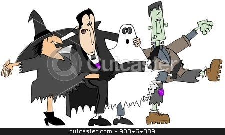 Halloween cancan stock photo, This illustration depicts a witch, vampire, ghost and monster dancing in unison kicking their legs up. by Dennis Cox