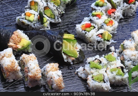 Sushi stock photo, Healthy very popular Japanese food sushi. by Henrik Lehnerer