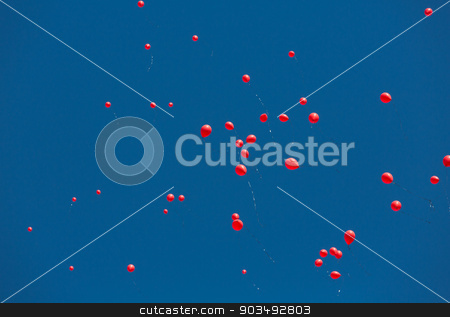 AIDS Memorial Balloons stock photo, TUCSON, AZ/USA - OCTOBER 12:  Balloons released as part of AIDSwalk event on October 12, 2014 in Tucson, Arizona, USA. by Scott Griessel