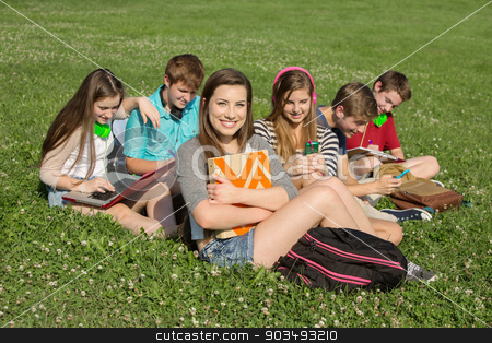 Six Teens Studying Outdoors stock photo, Cute teenagers sitting together studying outdoors by Scott Griessel