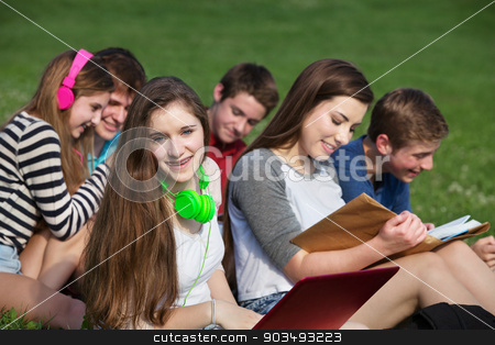 Happy Girl with Friends stock photo, Happy teen girl with friends studying outdoors by Scott Griessel