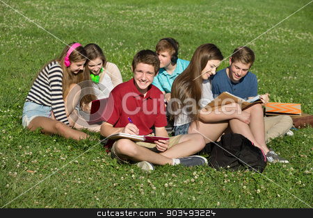 Teen Writing in Book stock photo, Happy male teenager studying with friends outdoors by Scott Griessel