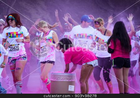 The Color Run Ventura stock photo, Ventura, CA - OCTOBER 18 :  Participants coming through the pink color station at The Color Run 2014 in Ventura. OCTOBER 18, 2014 in Ventura, CA.  by Henrik Lehnerer