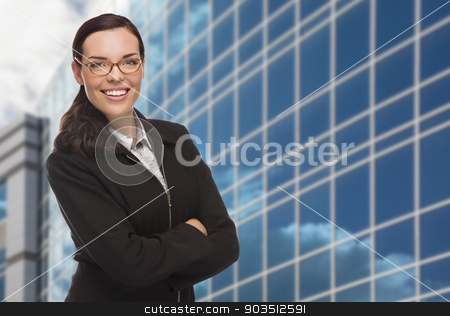 Confident Attractive Mixed Race Woman in Front of Corporate Buil stock photo, Confident Attractive Mixed Race Woman in Front of Corporate Building Outside. by Andy Dean