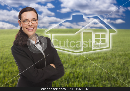 Woman and Grass Field with Ghosted House Figure Behind stock photo, Smiling Woman in Grass Field with Ghosted House Figure Behind. by Andy Dean