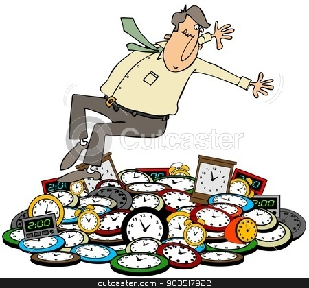Fall back stock photo, This illustration depicts a man falling back onto clocks for the daylight savings time change. by Dennis Cox