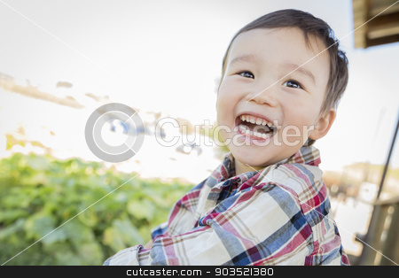Mixed Race Young Boy Having Fun Outside stock photo, Cute Mixed Race Young Boy Having Fun Outside. by Andy Dean