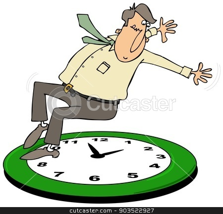 Fall back daylight savings time stock photo, This illustration depicts a man falling back onto a large clock for the daylight savings time change. by Dennis Cox