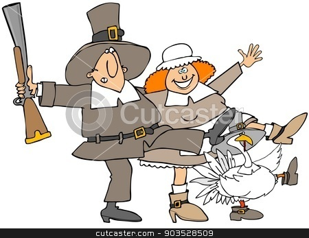 Pilgrim can can stock photo, This illustration depicts a Pilgrim, his wife and a turkey doing the can can dance. by Dennis Cox