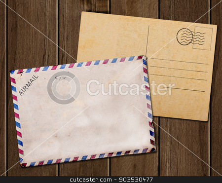 Old blank  post card white background stock photo, Old blank post card white background, clipping path. by Pablo Caridad