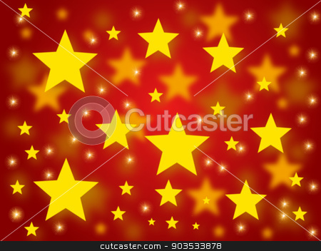 Christmas Stars stock photo, Golden christmas stars on a red background. by Henrik Lehnerer