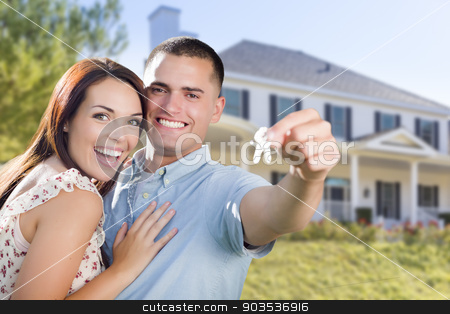 Military Couple with House Keys In Front of New Home stock photo, Mixed Race Excited Military Couple In Front of New Home Showing Off Their House Keys. by Andy Dean