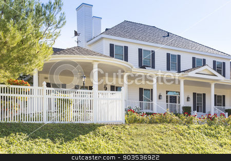 Custom Built Home Facade stock photo, Beautiful Custom Built Home Facade and Yard. by Andy Dean