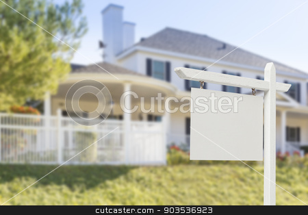 Blank Real Estate Sign in Front of New House  stock photo, Blank Real Estate Sign in Front of Beautiful New House. by Andy Dean