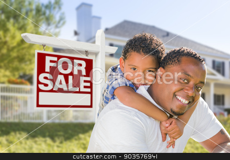 African American Father and Mixed Race Son, Sale Sign, House stock photo, African American Father and Mixed Race Son In Front of Home For Sale Real Estate Sign and New House. by Andy Dean