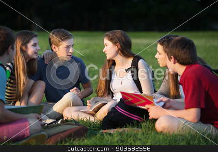 Teens Doing Homework Outdoors stock photo, Group of Caucasian teenage students doing homework by Scott Griessel