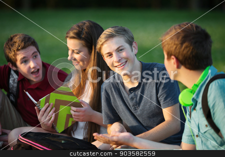 Male Teen Studying with Friends stock photo, Happy male teen sitting with students outdoors by Scott Griessel