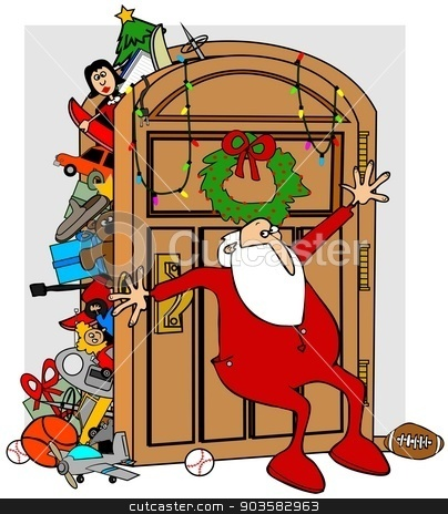 Santa's full closet stock photo, This illustration depicts Santa in his long underwear trying to keep items in his full closet from overflowing. by Dennis Cox