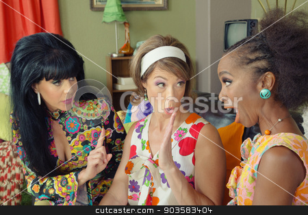 Arguing Friends stock photo, Three arguing female friends in 1960s style clothing by Scott Griessel