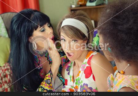 Friends Whispering Secrets stock photo, Beautiful mixed group of women whispering secrets by Scott Griessel