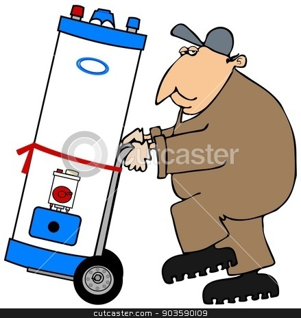 Plumber moving a water heater stock photo, This illustration depicts a plumber wearing brown coveralls moving a water heater on a hand truck. by Dennis Cox