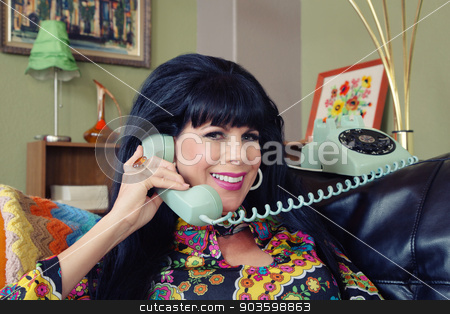 Beautiful Woman on Phone stock photo, Beautiful 1960s style Caucasian woman on rotary telephone by Scott Griessel