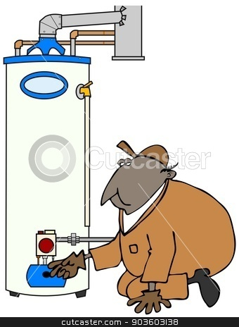 Service Tech checking water heater stock photo, This illustration depicts a service technician kneeling and checking a gas water heater. by Dennis Cox