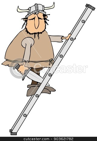 Viking on a ladder stock photo, This illustration depicts a Viking with a sword climbing an aluminum ladder. by Dennis Cox