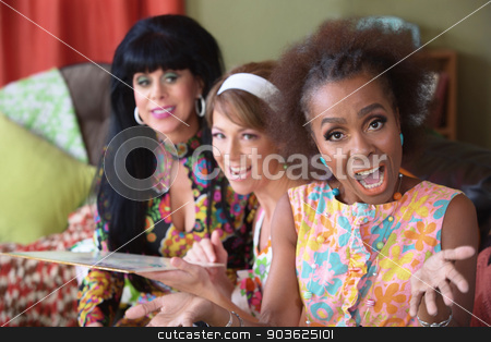 Singing Woman with Friends stock photo, Singing woman in floral dress with friends holding record by Scott Griessel