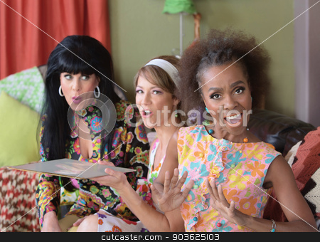Excited Singing Woman stock photo, Excited singing woman with friends in 1960s scene by Scott Griessel