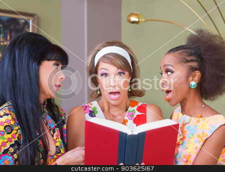 Anxious Woman with Book stock photo, Three diverse pretty women surprised with a book by Scott Griessel