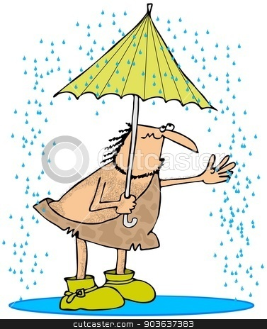 Caveman in the rain stock photo, This illustration depicts a caveman standing in the rain holding an umbrella and wearing yellow galoshes. by Dennis Cox