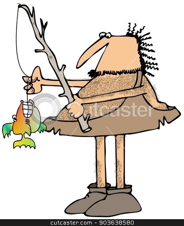 Caveman fisherman stock photo, This illustration depicts a caveman fishing with a branch pole and a small fish with large teeth on the line. by Dennis Cox