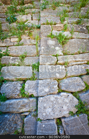 Detail of Acropolis Wall at Troy in Turkey stock photo, Detail of stones in acropolis wall at Troy in Turkey by Scott Griessel
