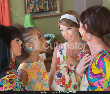 Cute Group of Four Talking stock photo, Group of four cute mature woman in 1970s fashion by Scott Griessel