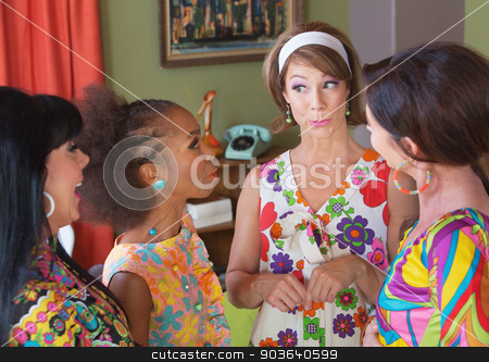 Cute Lady Gossping stock photo, Cute gossiping woman with hair band and group of friends by Scott Griessel