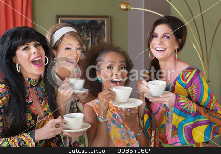 Four Happy Women Drinking Tea stock photo, Laughing group of four women in retro style by Scott Griessel