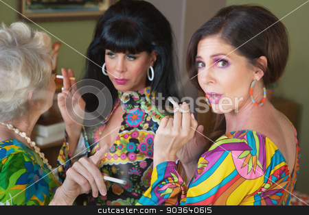 Chatting Ladies with Cigarettes stock photo, Surprised Caucasian woman with friends smoking and talking by Scott Griessel