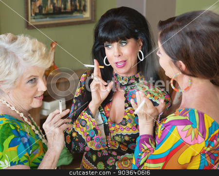 Talking and Smoking Women stock photo, Group of three 1960s style women gossiping and smoking by Scott Griessel