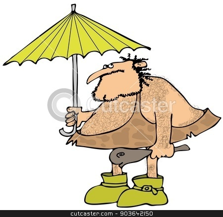 Caveman holding an umbrella stock photo, This illustration depicts a caveman wearing galoshes and holding a club and umbrella. by Dennis Cox
