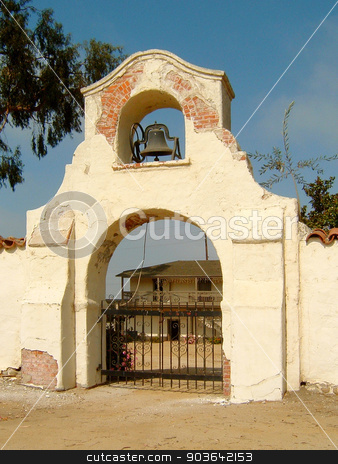 Olivas Adobe stock photo, Gate of the Olivas Adobe in Ventura County by Henrik Lehnerer