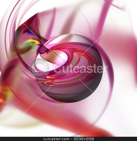 Abstract Red Globe stock photo, Red color globe on a fractal background. by Henrik Lehnerer