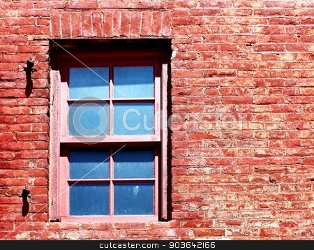 Red Brick Window stock photo, Old window in the middle of an old red brick wall. by Henrik Lehnerer