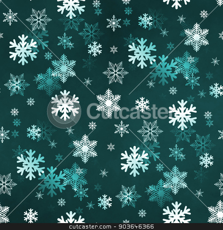 Dark Green Snowflakes stock photo, Dark green winter Christmas snowflakes with a seamless pattern as background image. by Henrik Lehnerer
