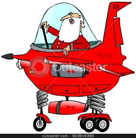 Santa piloting a starship stock photo, This illustration depicts Santa Claus in the cockpit of a whimsical starship. by Dennis Cox