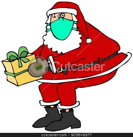 Santa wearing a face mask stock photo, This illustration depicts Santa Claus holding a wrapped package and wearing a surgical face mask. by Dennis Cox