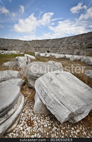 Carved Stone in Ruins at Perga stock photo, Carved Stone among the ruins of Perga colosseum by Scott Griessel