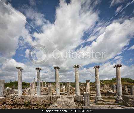 Clouds Over Perga Ruins stock photo, Clouds over the ancient city of Perga in Turkey by Scott Griessel
